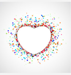 heart shape symbol over colorful confetti or holi vector image vector image