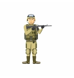 Infantryman with weapons icon cartoon style vector image vector image