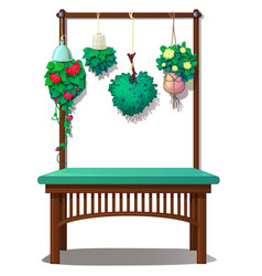 interior decor with hanging plants and flowers vector image