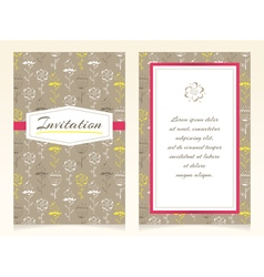 Invitation design with sketch flowers vector image