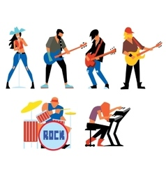 Musicians rock group isolated on white background vector