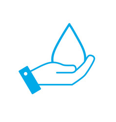 Silhouette hand with natural water drop to vector