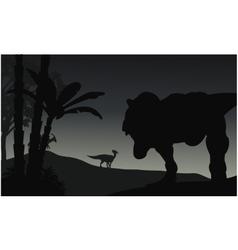Silhouette of tyranosaurus and parasaurolophus vector