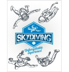 Skydiving set - emblem and skydivers vector image vector image