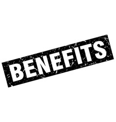 Square grunge black benefits stamp vector