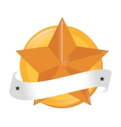 Star gold ribbon baner winner graphic vector