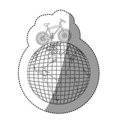 Sticker monochrome contour of bicycle over the vector