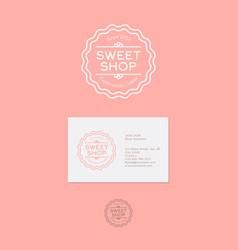 sweetshop logo or celebration cakes emblem vector image