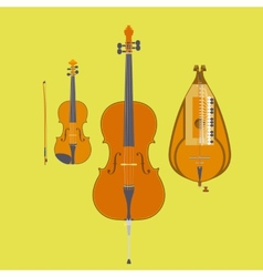 Violin Violin Bow Cello and Hurdy-Gurdy vector image