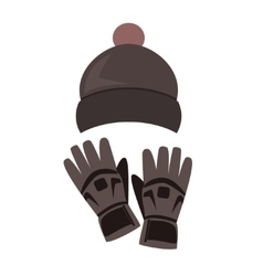 Winter hat and gloves on white background vector