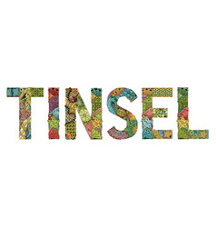 Word tinsel decorative zentangle object vector