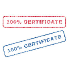 100 percent certificate textile stamps vector