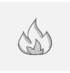 Fire sketch icon vector image