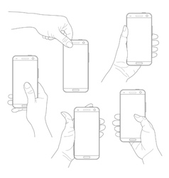 Set of hands with smartphones vector