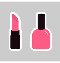 Pink lipstick nail polish sticker on gray vector