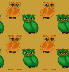 Seamless pattern with cartoon owls vector