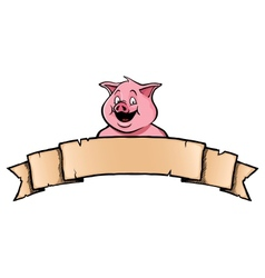 Pig with ribbon banner vector