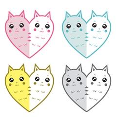 Cute cats-hearts vector image