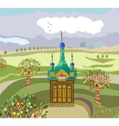 Landscape with a chapel vector