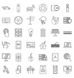 Analysis icons set outline style vector