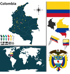 Colombia map world vector