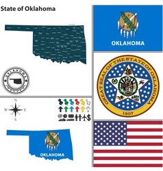 Map of oklahoma with seal vector