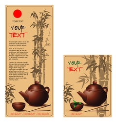 Banners with teapot and cup of tea in chinese styl vector