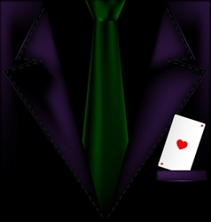 Purple suit and ace of hearts vector