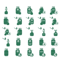 Set of camp stove icons vector