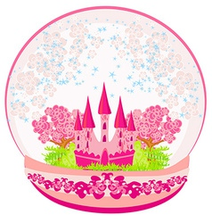 A pink castle inside the dome vector