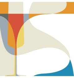 Abstract with silhouette of wine glass vector image