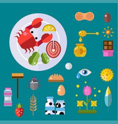 allergy symbols disease healthcare tablets viruses vector image vector image