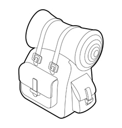 Backpack icon outline isometric style vector image vector image