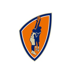 Basketball Player Dunk Block Ball Shield Retro vector image vector image
