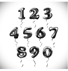 black number 1 2 3 4 5 6 7 8 9 0 metallic balloon vector image