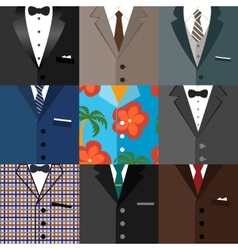 Business decorative icons set of suits vector