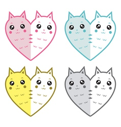 Cute cats-hearts vector
