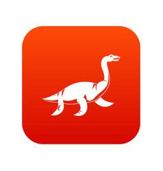 elasmosaurine dinosaur icon digital red vector image
