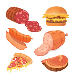 fast food meat set food icons vector image vector image