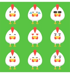 Flat design rooster or chicken cartoon characters vector
