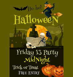 Halloween trick or treat party poster vector