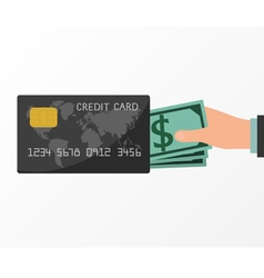Hands holding money from credit card vector image vector image