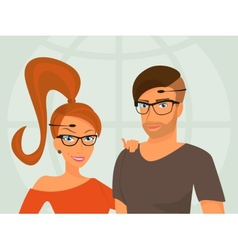 Hipster guy and his smiling girlfriend are wearing vector image vector image