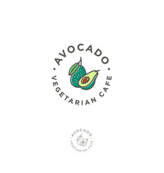 Logo avocado vegetarian restaurant vector