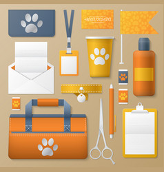 Pet groomer identity template mockup vector