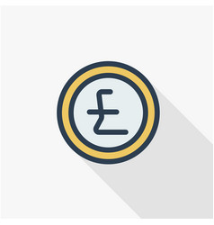 Pound sterling coin currency thin line flat color vector