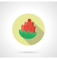 Red pine cone round flat color icon vector