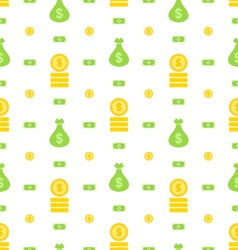 Seamless pattern with money bag bank notes coins vector