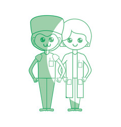 Silhouette woman and man doctors with their vector