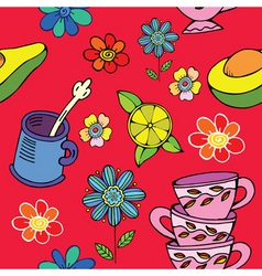 tea time floral print vector image vector image
